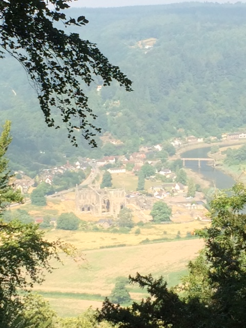 20180723 Tintern Abbey on a hazy morning from the Devil's Pulpit