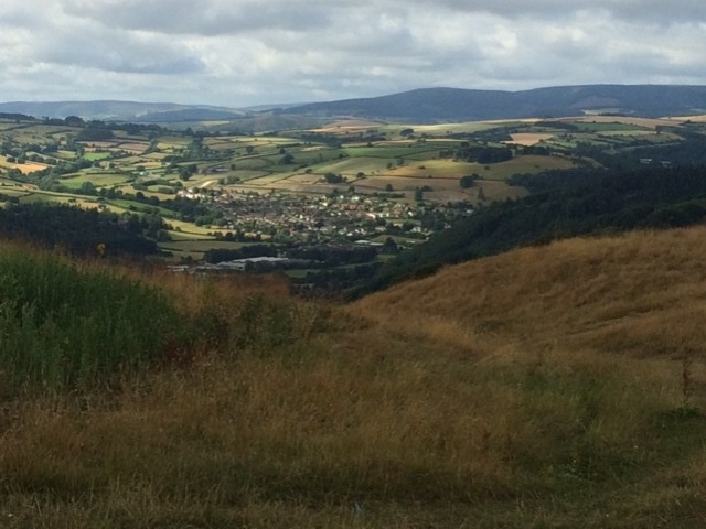 20180801Looking down on Knighton from Stowe Hill