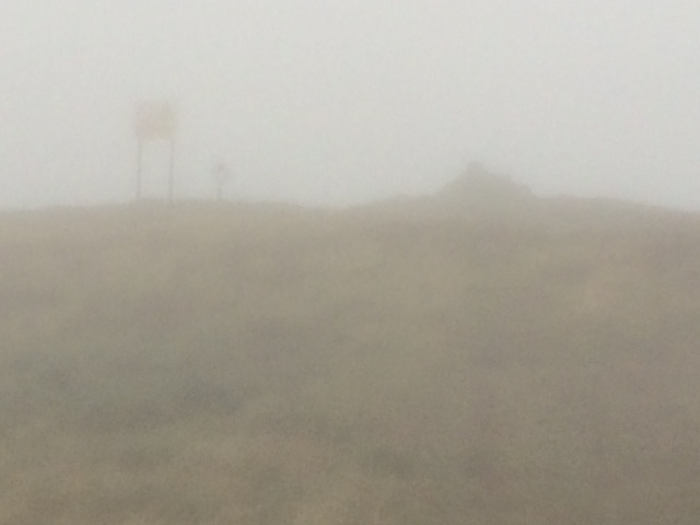 20180822 Ravens Knowe Summit 527m appearing in the mist