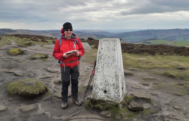 20190405 Neil at the trig point on High Neb