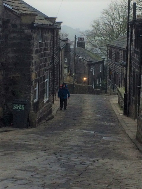 20190408 Wyn climbing the hill at Heptonstall