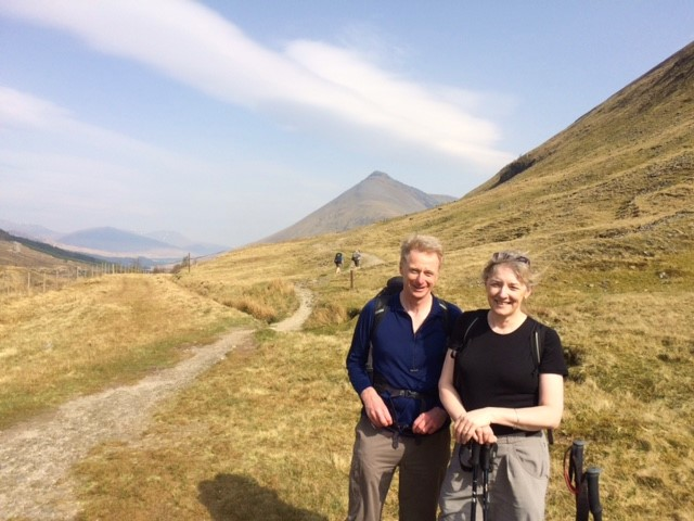 20190423 Tricky and Alison on the path to the Bridge of Orchy